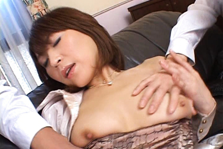 Jun loves being fingered and fondled by two horny guys