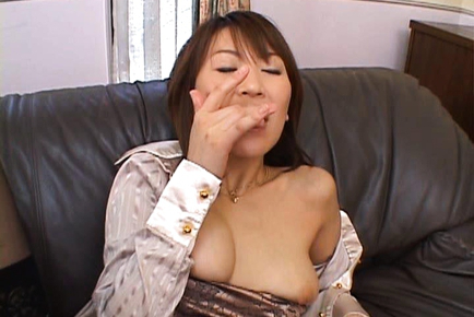 Hot cumload is exploded on a trimmed tight Asian pussy