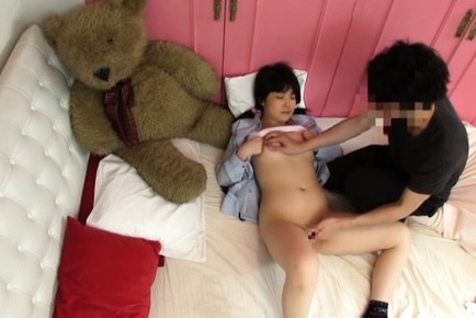 Japanese av model. Japanese AV Model has vagina licked and rubbed next to her toys