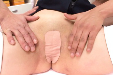 Agasa itou. Agasa Itou Asian in uniform has shaved labia covered with patch