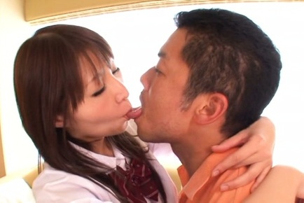 Rei aimi. Rei Aimi Asian in uniform is kissed and has boobies licked by guy