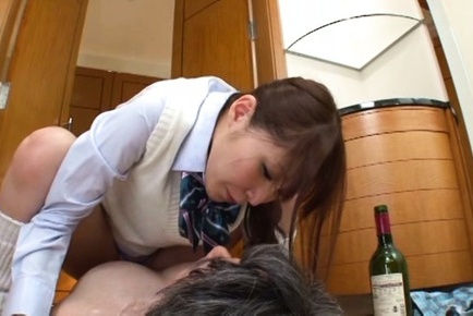 Rei aimi. Rei Aimi Asian in uniform is licked and make love under small thong