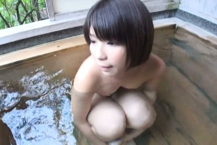 Amateur. Amateur Asian takes outdoor bath after one